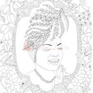 kleurplaat flowerpower girl