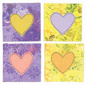 kadokaartjes love paars geel