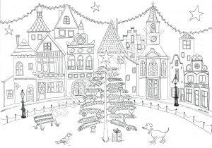 kleurplaat happy houses christmas