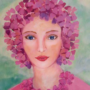 schilderij pinkflowergirl